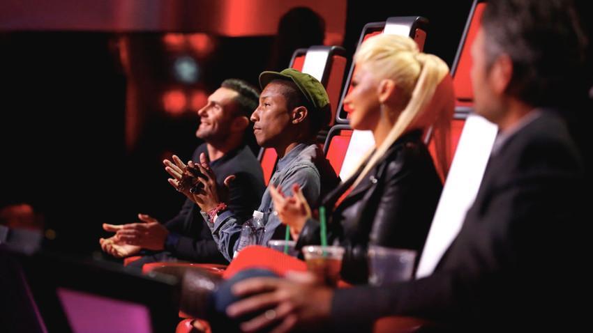 Adam Levine, Pharrell Williams, Christina Aguilera and Blake Shelton in The Voice