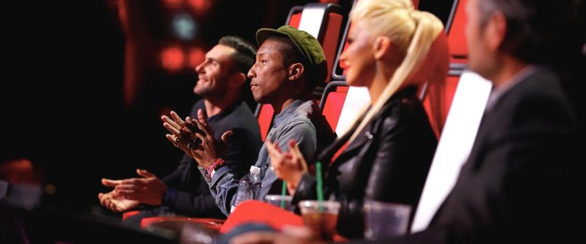 Adam Levine, Pharrell Williams, Christina Aguilera and Blake Shelton in The Voice