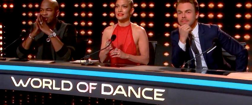 Ne-Yo, Jennifer Lopez and Derek Hough in World of Dance