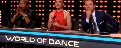 Ne-Yo, Jennifer Lopez and Derek Hough in World of Dance